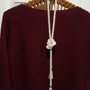 Pearl tassle rope necklace